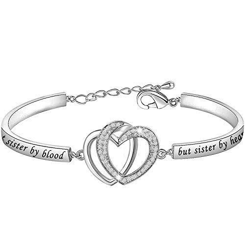 MYSOMY Not Sister by Blood but Sister by Heart Bracelet Best Friends Gifts for Sister in Law Soul Sister Gifts Unbiological Sister Gifts (White Gold)