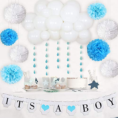 April Baby Shower Decorations - Rainbow Clouds Baby Shower Decorations, It's A Boy Banner Cloud Balloon Garland Kit White Blue Raindrop Garland for Boys