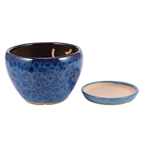 YARNOW 1 Set Pot de Fleur en Céramique avec Soucoupe Plantes Succulentes Pot Pot Support de Fleur de Cactus Décoration de Jardin (Bleu Foncé)