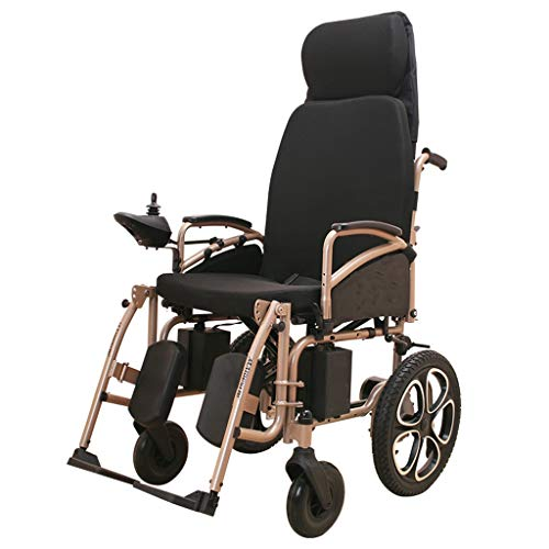 Silla de ruedas eléctrica for trabajo pesado con reposacabezas, plegable plegable y...