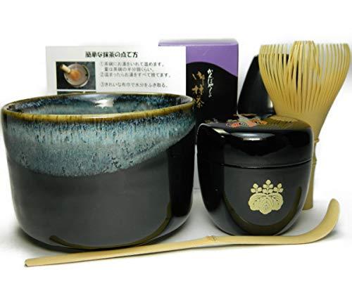 抹茶茶碗もついてくる 抹茶セット 衛生的な茶筅 高台寺蒔絵の中棗 茶道具 (【抹茶碗】天目釉)