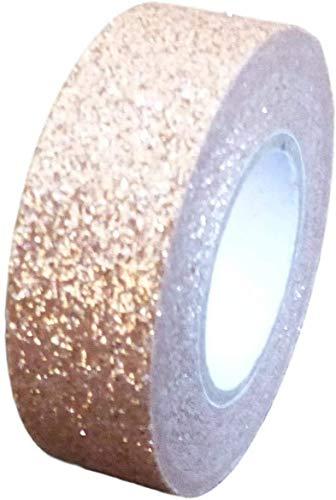 2 Rollen Glitzer-Washi-Tape, dekoratives Basteln, selbstklebend, klebend, Glitzer-Band, 15 mm x 5 m (Roségold)
