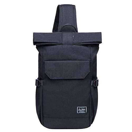 KAUKKO Canvas Messenger Bag Cross Body Shoulder Sling Backpack Travel Hiking Chest Bag (F11BLACK)