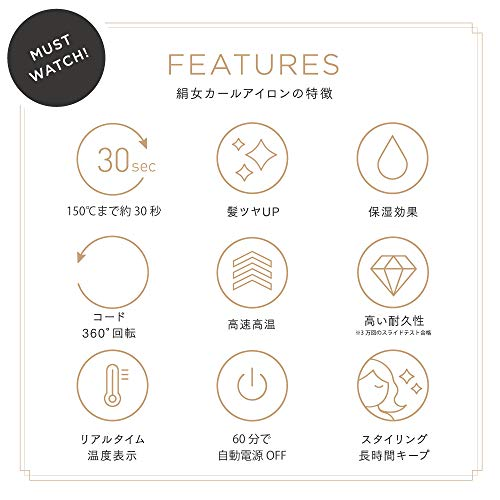 絹女〜KINUJO〜(キヌージョカールアイロン)カールアイロン32mm200℃10段階の温度切替海外対応楽天市場ランキング1位獲得商品