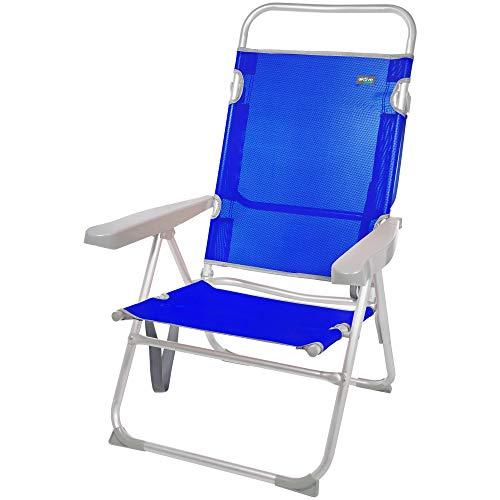 Aktive 62621 - Silla plegable playa, Aktive Beach, 63 x 57 x 99 cm, Silla reclinable, 5 posiciones, Silla alta, altura asiento 33 cm, asa de transporte, Sillas de playa plegables ligeras