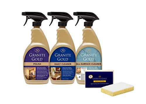 Granite Gold Home Care Collection Daily Cleaner, Polish, All-Surface Spray, and Scrub Sponge Combo Pack to Clean and Protect Granite, Marble, Quartz, Natural Stone, clear