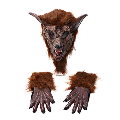 PRETYZOOM - Mscara de lobo y guantes para disfraz de Halloween