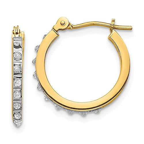 Saris and Things pendientes del aro leverback 14k oro amarillo diamante fascinación pequeño bisagras