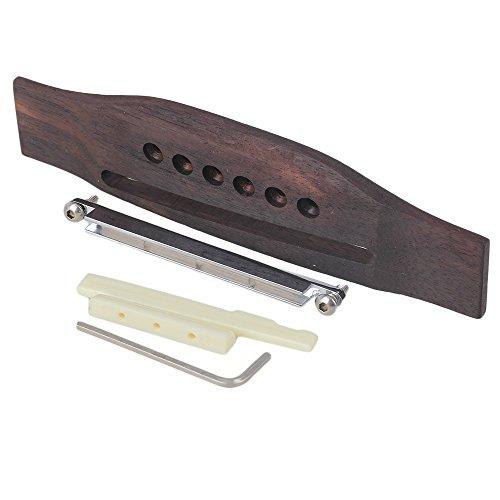 Yibuy Set mit 6 Saiten Akustik Gitarre Palisander Steg & Sattelmuttern & Verstellbarer Schaft