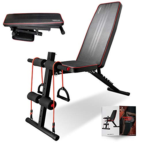 arteesol Weight Bench – Adjustable Weight Bench Workout Bench Exercise Bench with Elastic Strings for Full Body Training (L-B-red)