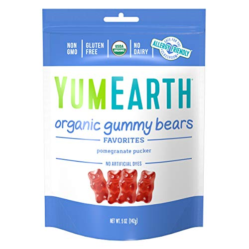 YumEarth Organic Pomegranate Pucker Gummy Bears, 5 Ounce Bag, 6 pack - Allergy Friendly, Non GMO (Packaging May Vary)