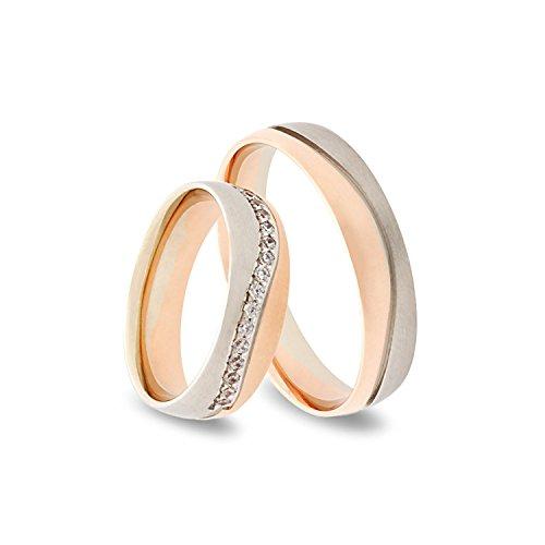333 GOLD Trauringe im Paarpreis in Rot- und Weissgold - Rubin Juwelier- inkl Gravur und 15 Zirkonia