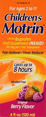 Motrin Children's Pain Reliever/fever Reducer, Oral Suspension, Original Berry Flavor 4 Oz (Pack of 2)