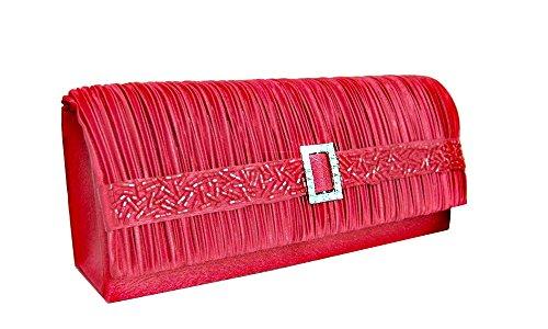 fashion-formel Clutch/Abendtasche Rot Satin