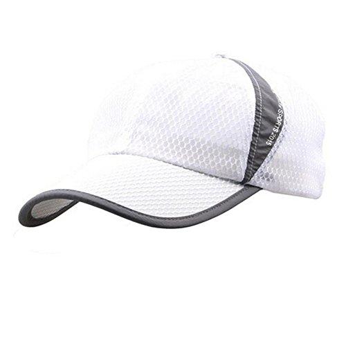 Schnell trocknende Mesh-Baseballkappe für Damen und Herren, atmungsaktiv, Sonnenschutz, Damen Unisex Herren, Weiß, Large