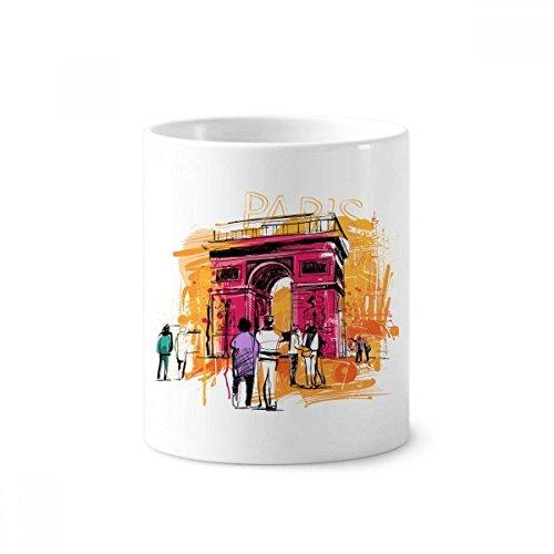 DIYthinker Dibujo Arco del Triunfo París Francia de la mano de cerámica taza de cepillo de dientes titular de la pluma blanca Copa 350ml regalo 9,6 cm de alto x diámetro 8.2cm
