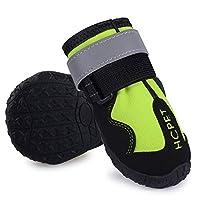 犬のブーツ、4個のペット犬の靴Jinmao Satsumaの大きい犬のブーツ、中型から大型犬のための調節可能な革紐が付いている足の保護装置,グリーン,5#=7.5*6.4cm