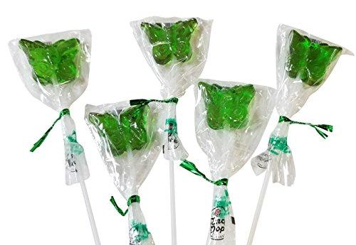 12 Inch Long Butterfly Shaped Lollipops Suckers- 10 COUNT Bendy Flexible Sticks (Green)