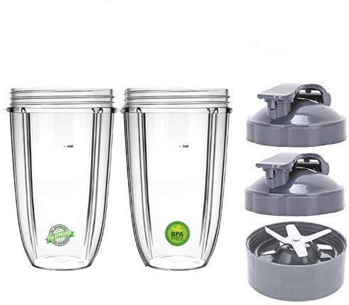 Replacement 24 Oz Cup with Flip Top To Go Lid & Extractor Blade Compatible With Nutri Bullet 600W 900W Blender (2 Pack)