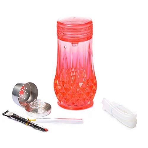 Shisha Acrylhaarna EIN Schlauch großer Rauch mit Silikon-Hukahnschüssel und buntes LED-Licht für den Rauchergenuss von Nikotines Vergiftungshukah-Set (Color : Rot)