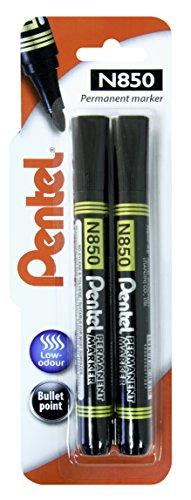 Pentel - rotulador permanente de punta gruesa, color negro Pack de 2