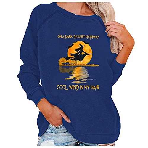 SoeHir Womens Halloween Printed Sweatshirt Loose Crewneck Long Sleeve Pullover Tops Blouse
