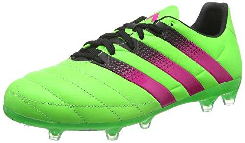 adidas Ace 16.2 FG/AG Leather, Scarpe da Calcio Uomo, Verde (Solar Green/Shock Pink/Core Black), 42 EU