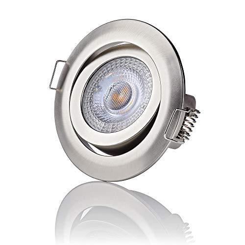 sweet-led Lot de 6 spots LED encastrables Thre(3) - Intensité variable sans variateur - Blanc/chrome-nickel - Rond - Blanc chaud - 3000 K - 5 W - 230 V - 400 lm (6erXchro-nickel)