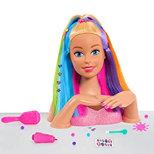 Barbie has added a splash of color to her iconic locks. Her thick, flowing rainbow hair is perfect for brushing and braiding into the trendiest designs. Use the brush and customizable barrettes to give Barbie a whimsical up-do. One Barbie Deluxe Rain...