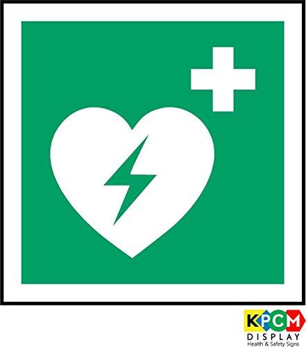 Anmeldung ISO Safety International Automatisierter externer Defibrillator Symbol - Selbstklebende Aufkleber 100mm x 100mm