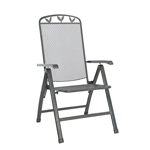 greemotion Klappsessel Toulouse eisengrau, Stuhl aus kunststoffummanteltem Stahl, Gartenstuhl mit 5-fach verstellbarer Rückenlehne, witterungsbeständig und pflegeleicht