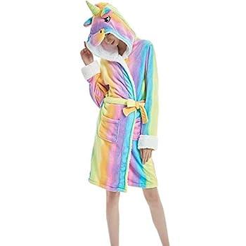 Unicorn Bathrobe Soft Hooded Fleece Animal Unicorn Bath Robe for Women Men Girls  Rainbow Unicorn L fit Height 170-180cm  65-69inch