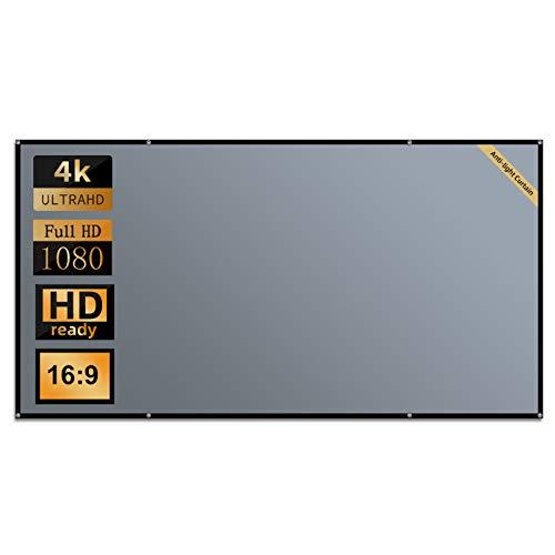 Beamer Leinwand, Lejiada 100-Zoll-Anti-Licht-Projektionswand für das Heimkino, faltbarer 16: 9 HD-Projektorvorhang für den Innen- und Außenbereich