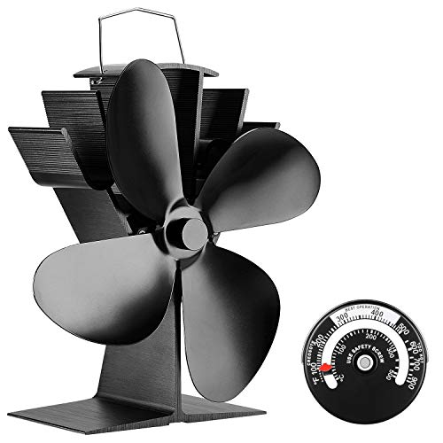 KINDEN Fireplace Fans 4-Blade - Heat Powered Stove Fan for Wood Log Burner Ultra Quiet Increases 80% More Warm Air than 2 Blade Eco-Friendly with Stove Thermometer (Aluminium Black,Large Size)