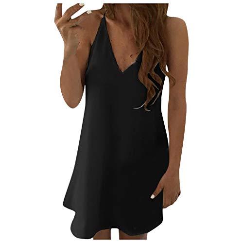 XOXSION Minivestido de gasa para mujer, sexy, liso, sin mangas, cuello en V, camisola con tirantes