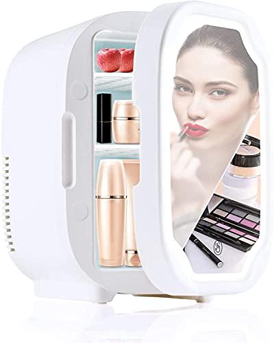 Mini frigorífico pequeño Mini refrigerador de 8 litros, refrigerador de belleza con espejo con iluminación LED, refrigerador de belleza portátil de AC / DC, refrigerador termeléctrico y calentador par