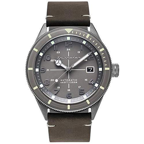 SPINNAKER Men's Cahill 43mm Grey Leather Band Steel Case Sapphire Crystal...