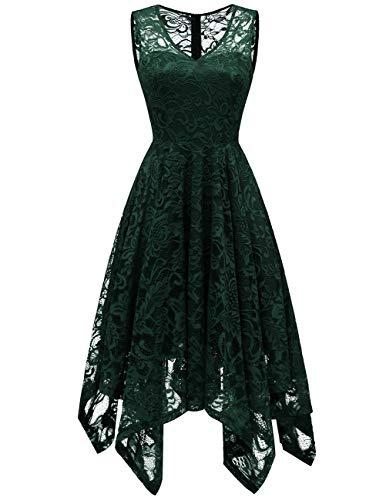 Womens Lace Cocktail Dress Elegant Floral Sleeveless V-Neck High Low Formal Prom Dress DarkGreen S (Apparel)