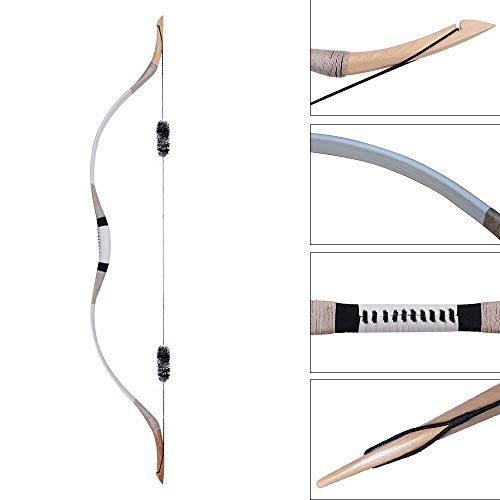 IRQ Traditional Longbow Set 65lbs - Handmade Cow Leather and Wooden Horsebow One-Piece Archery Hunting Recurve Bow Asian Mongolian for Adults Turkish Style Bow Left or Right Hand