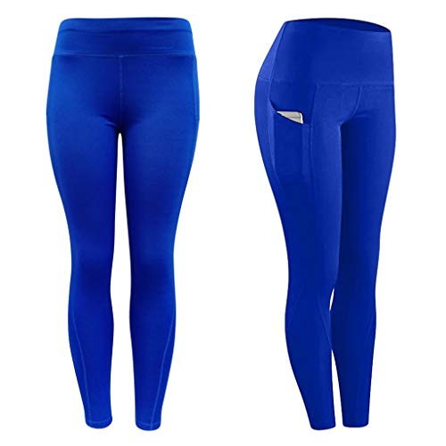 ReooLy Women Workout Butt Lifting Scrunch Out Pocket Yoga Leggings Fitness Sports Running Tight Yoga Pants(Blue,Small)