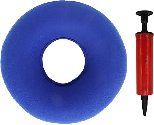 Cojín de asiento ortopédico redondo con bomba para inflamación, problemas de cocxis, embarazo, parto (azul)