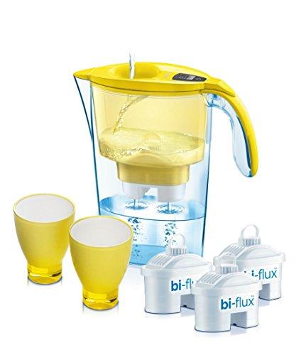 1 jarra filtrante Laica + 3 filtros bi-flux + 2 vasos. Laica J947Y. Vasos y jarra en color amarillo. Jarra Stream Line de 2,3 litros con llenado rapido.