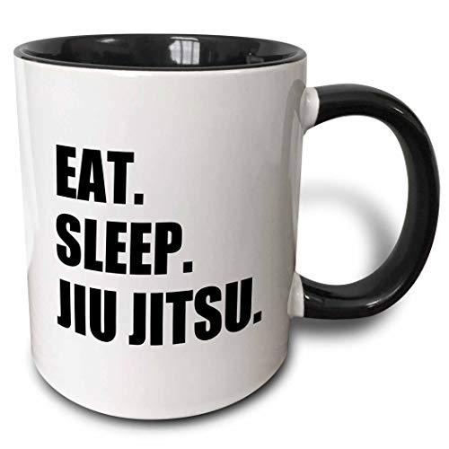 Taza Personalizada, Hombres Tazas De Cerámica Elegante Taza Desayuno,Eat Sleep Jiu Jitsu-Japanese Martial Art-Ju Jutsu Jujutsu Jujitsu Taza De Dos Tonos 330Ml Negro