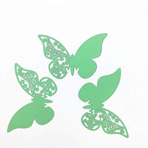 ElecMotive 50 Stück Schmetterling Tischkarten Namenskarten Glasanhänger Wandsticker für Tischdeko Hochzeit Party Haus Deco (Grün)