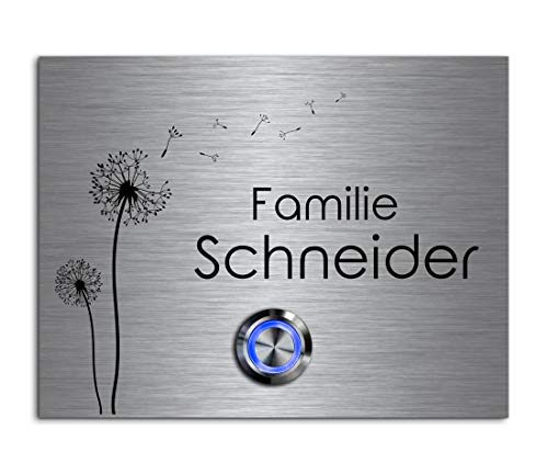 CHRISCK Design - roestvrij stalen deurbel met gravure naar wens LED-verlichting en motieven 13x10 cm belknop naam Model: Schneider-P
