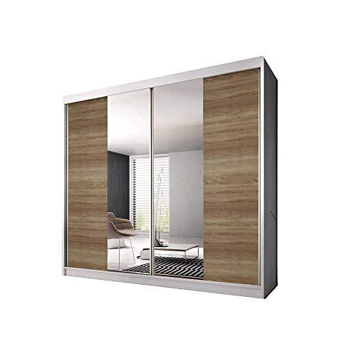 E-MEUBLES Armoire de Chambre avec 2 Portes coulissantes | Penderie (Tringle) avec étagères (LxHxP): 203x218x61 Ben 36 (Blanc/chêne Sonoma+Miroir)