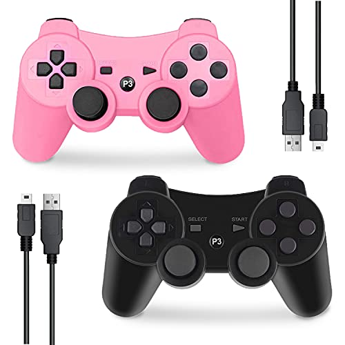 PS3 Controller Wireless, Gaming Remote Joystick for Playstation 3 with Charger Cable Cord (Pink, Black)