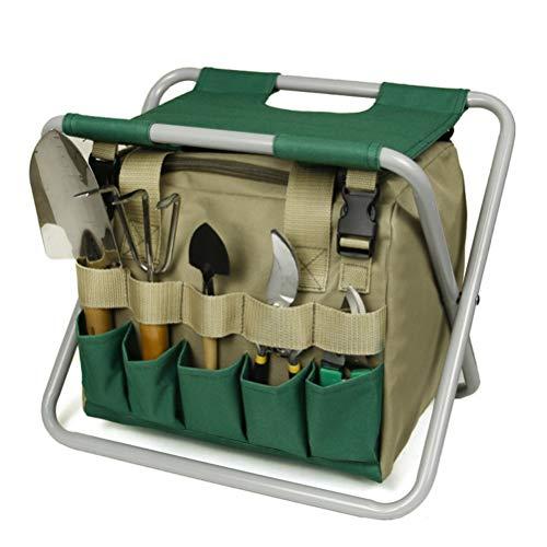 Edinber Juego de herramientas de jardín plegable para jardinería, juego de herramientas de jardinería con bolsa desmontable y taburete plegable, para camping, pesca, senderismo, jardinería y playa