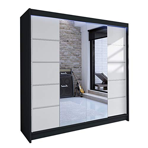 Mirjan24 Kleiderschrank Talin V, Schwebetürenschrank, Garderobenschrank mit Kleiderstange und Einlegeboden, Schlafzimmerschrank, Dielenschrank (Schwarz/Weiß + Spiegel, mit RGB LED Beleuchtung)