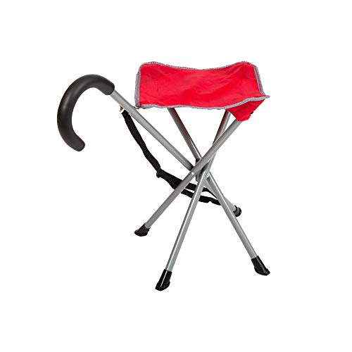 Mac Sports Folding Cane Chair for Women and Men | Walking Stick StoolStyle Folding Cane Cane with Seat Quad Base Collapsible Folding Stools for Adults and Seniors Travel Friendly | Red